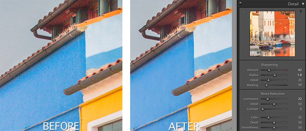 Burano Edit - Noise example, before and after