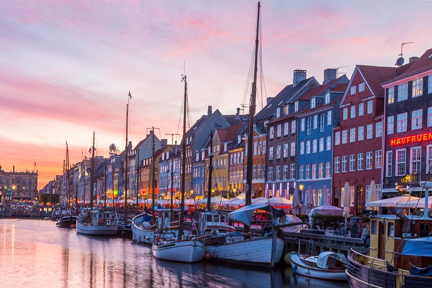 Colourful Sunsets along Nyhavn in Copenhagen
