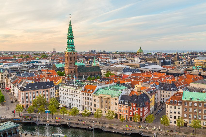 Copenhagen Skyline from the Tower at sunset