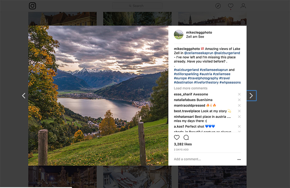 Instagram promotion example