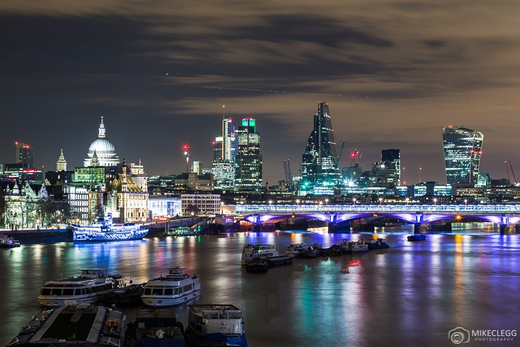 London Skyline along the River Thames at night
