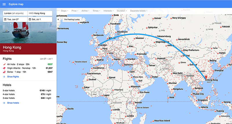 Screenshot of Google Flights Map View