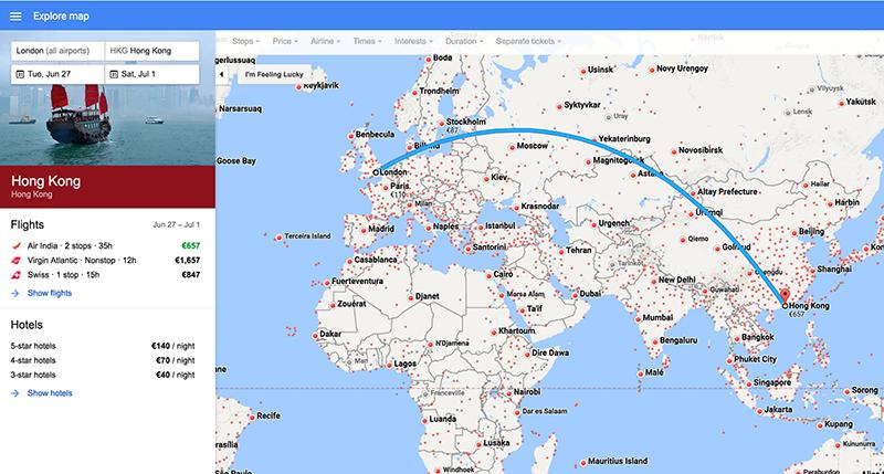 Screenshot of Google Flights Map View