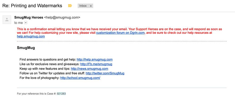 Smugmug Email Support