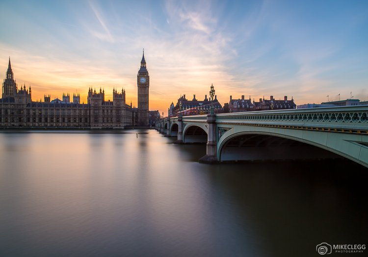 Sunset behind Houses of Parliament, London