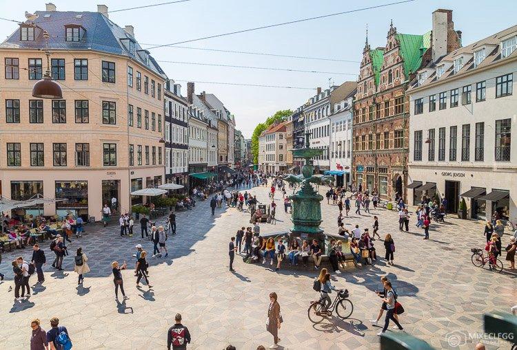 View of the Stroget Highstreet in Copenhagen during the day