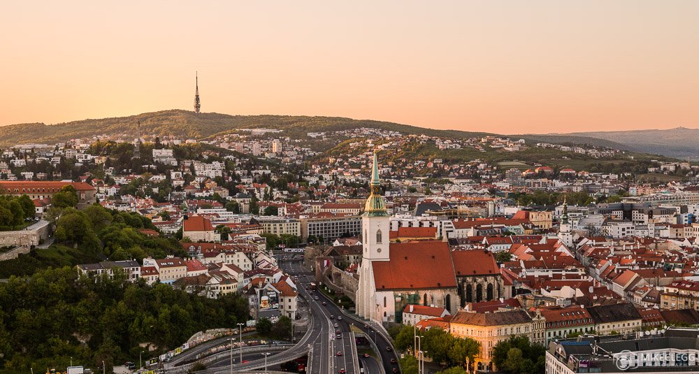 Bratislava from the UFO Tower at sunset