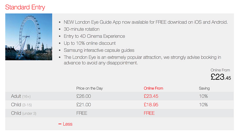 London Eye website screenshot showing saving by booking online