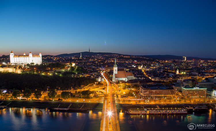 View from UFO Tower in Bratislava at night