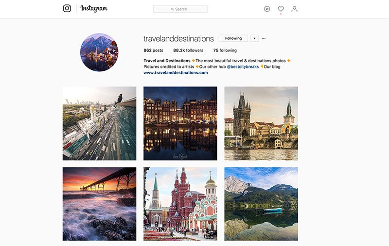 Instagram travel account