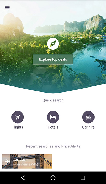 Skyscanner App Screenshot