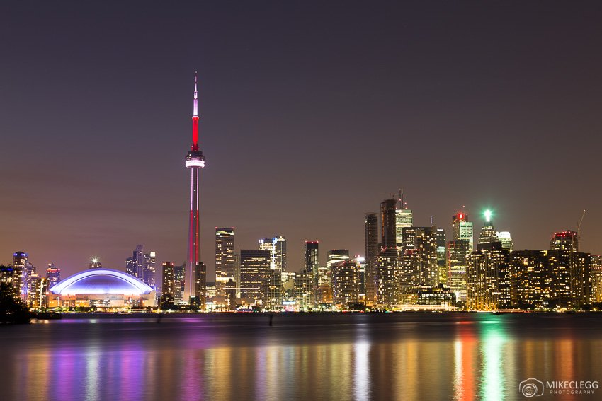 Toronto skyline at night from Olympic Island
