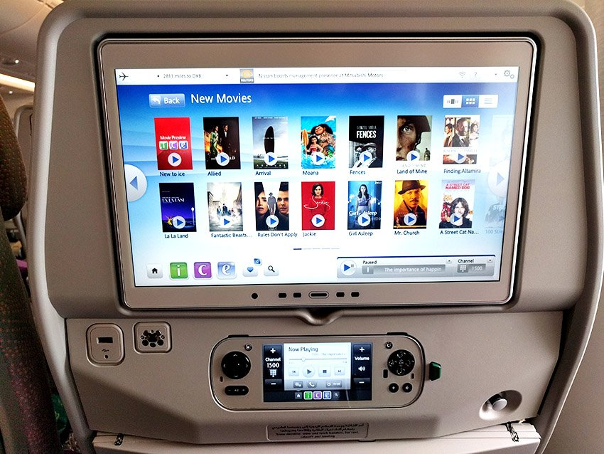Inflight entertainment screen example - Emirates
