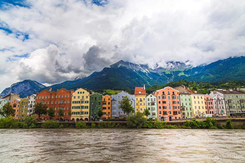 Innsbruck, Austria - Buildings and mountains along the river