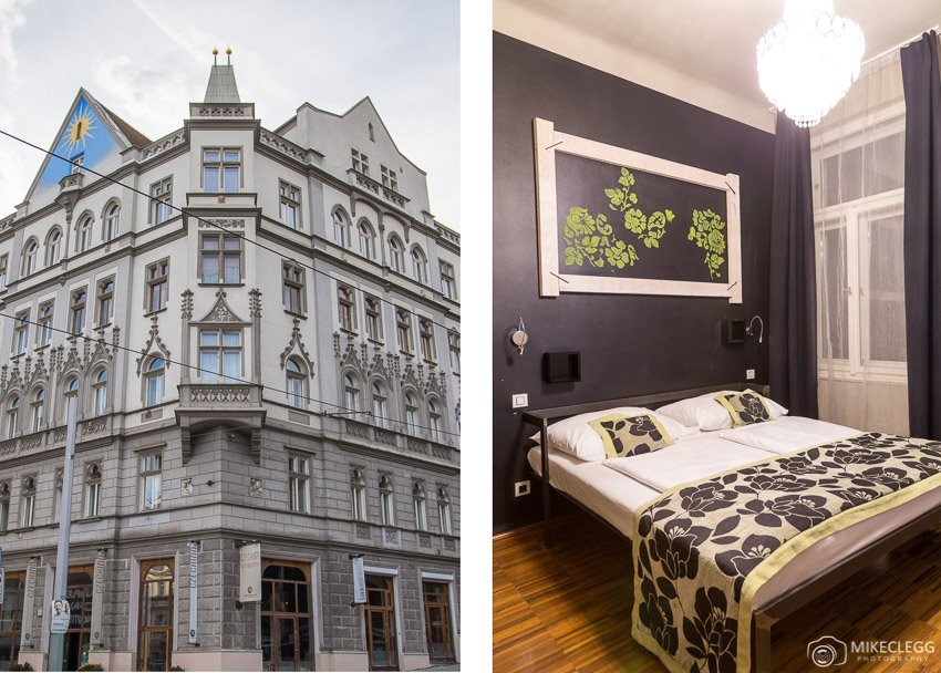 Building and rooms at Czech Inn, Prague