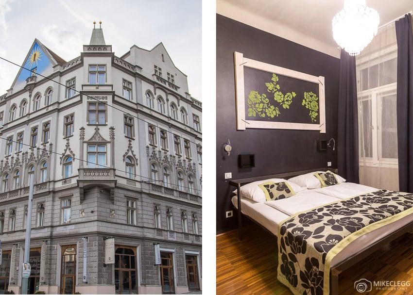 Building and rooms at Czech Inn, Prague