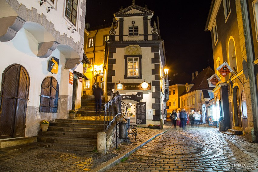 Buildings along Latrán, Cesky Krumlov at night