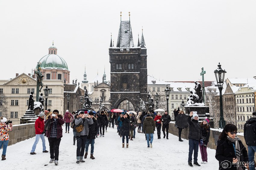 Charles Bridge in the winter and snow