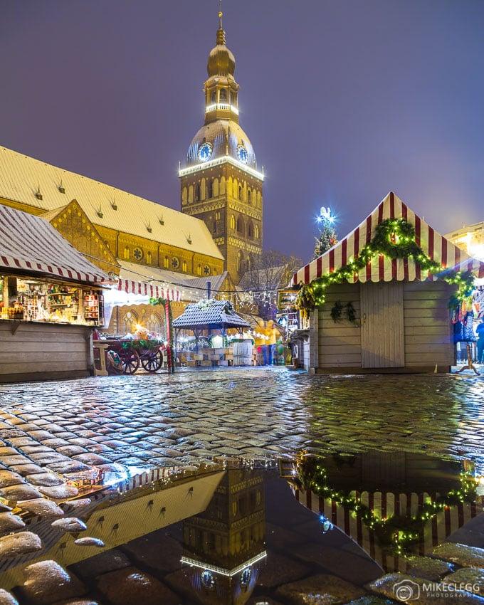 Christmas markets and Riga Cathedral church at Doma Laukums