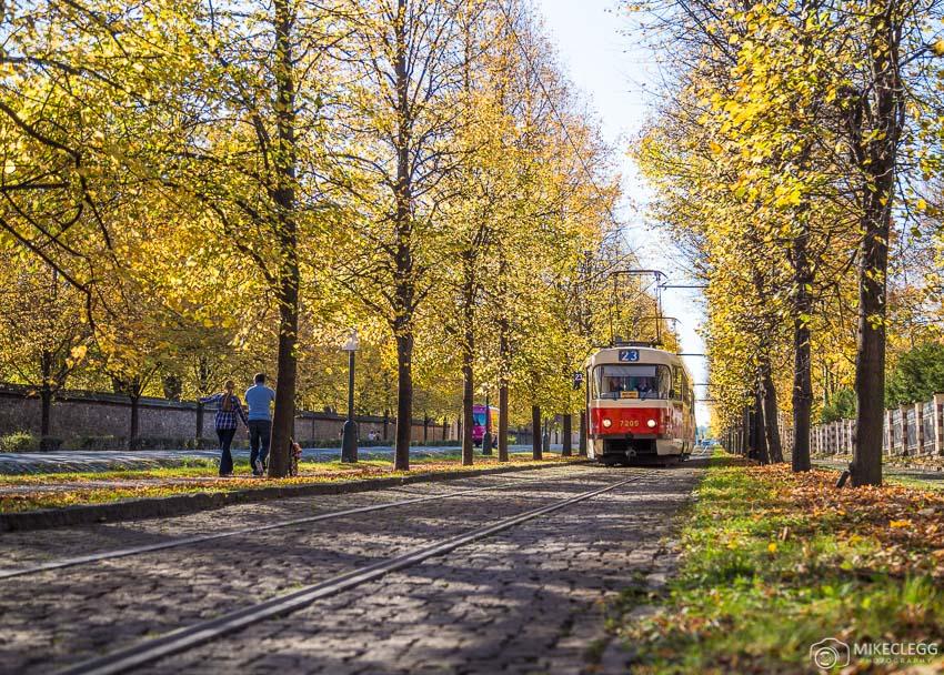 Mariánské hradby, Trams, Autumn, Prague