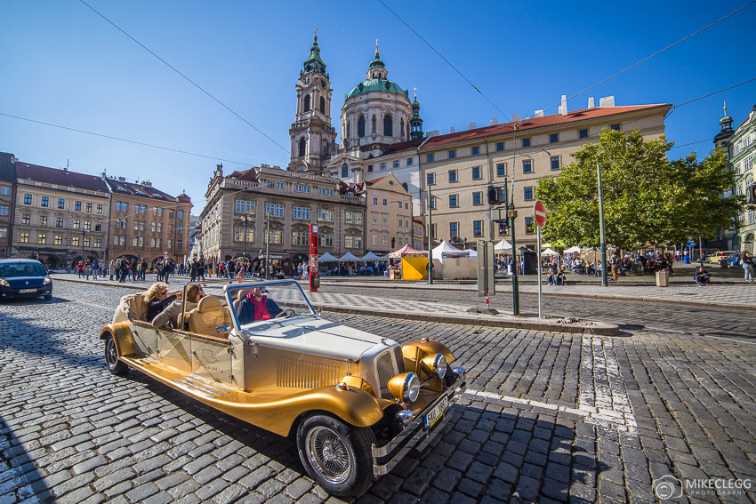 Prague Old Car and St Nicholas Church