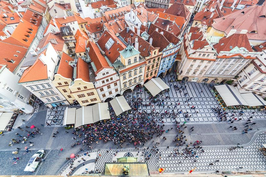 Prague view from Old Town Hall Tower