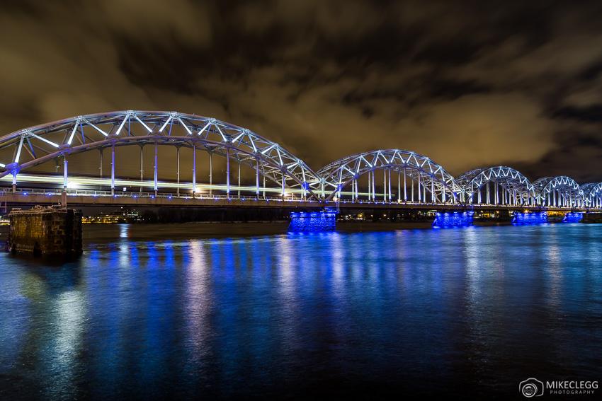 Riga Railway Bridge at night