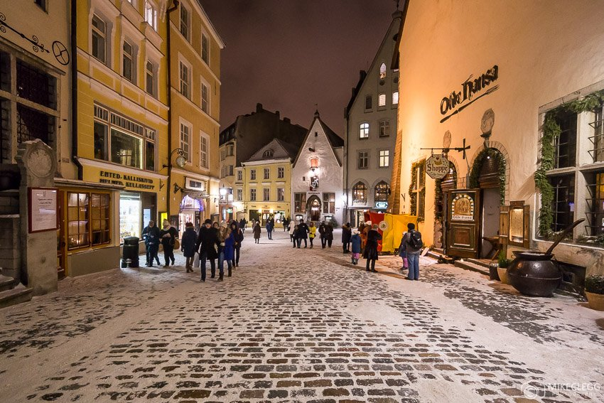 Vanaturu kael Street in Tallinn in the winter