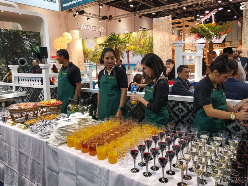 Evening drinks and food at stands at WTM