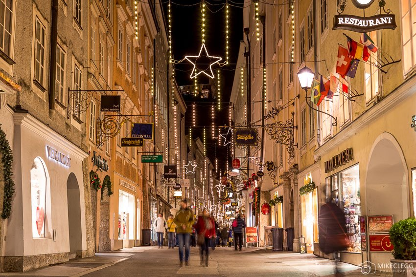 Getreidegasse at Christmas, Salzburg