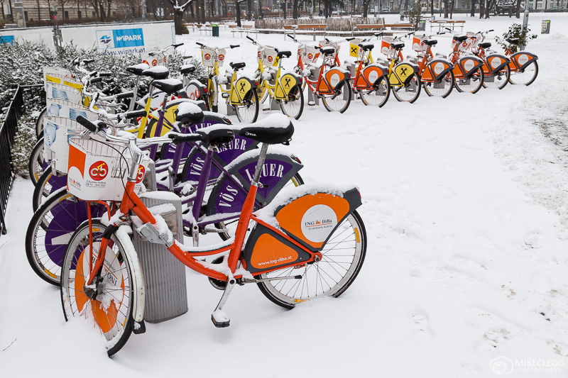 City Bikes in Vienna in the winter