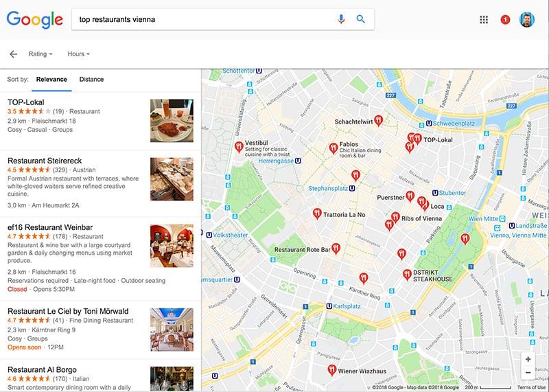 Finding restaurants using Google Maps