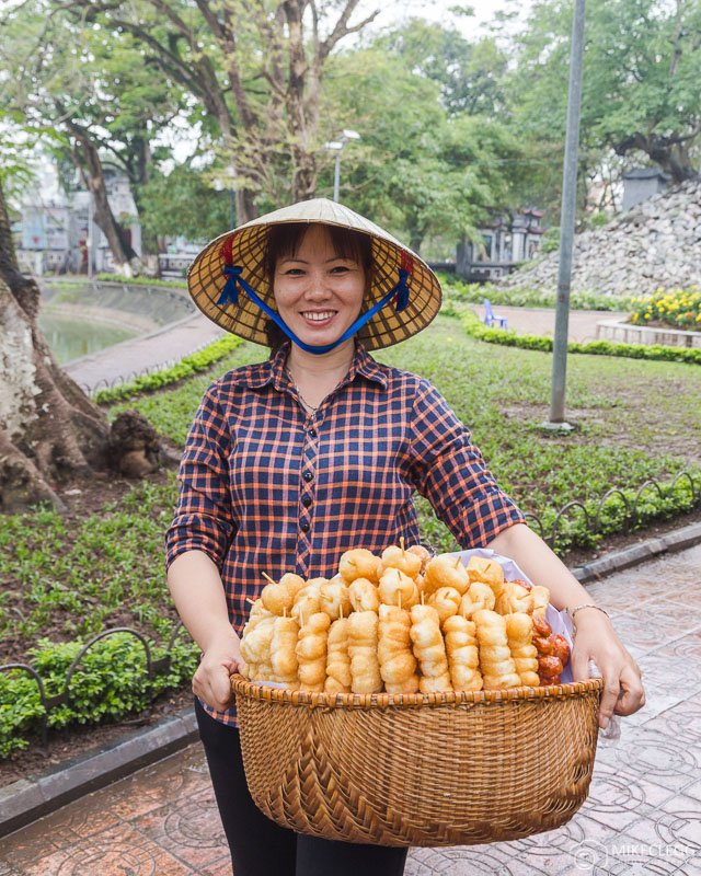Locals in Hanoi selling sweet treats