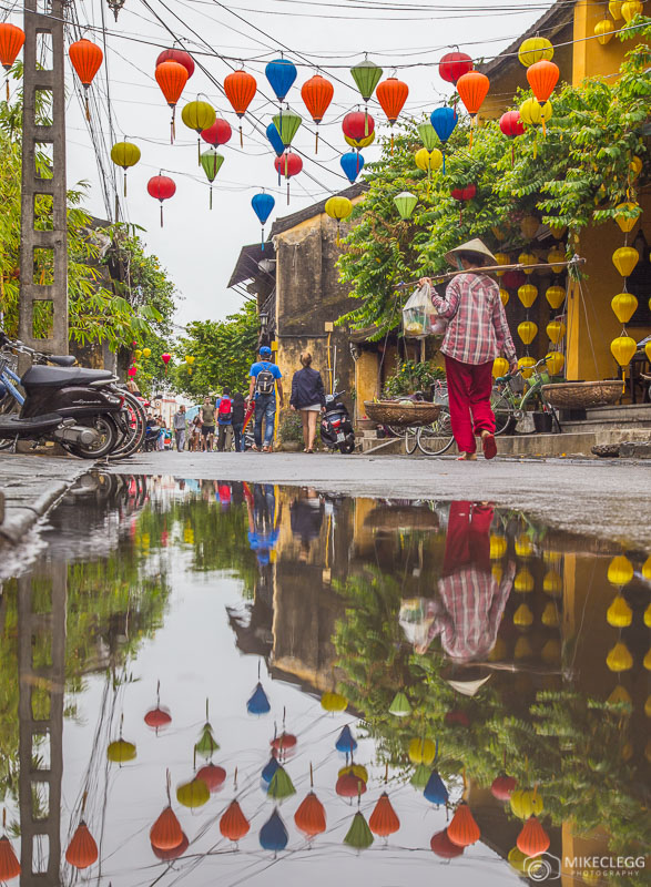 Puddle reflections in Hoi An, Vietnam