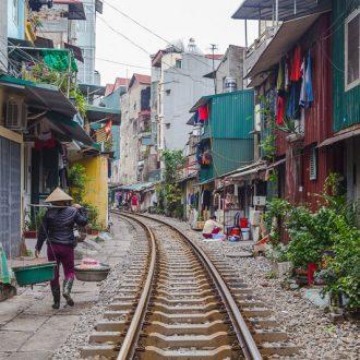 Railway track running through the city in Vietnam