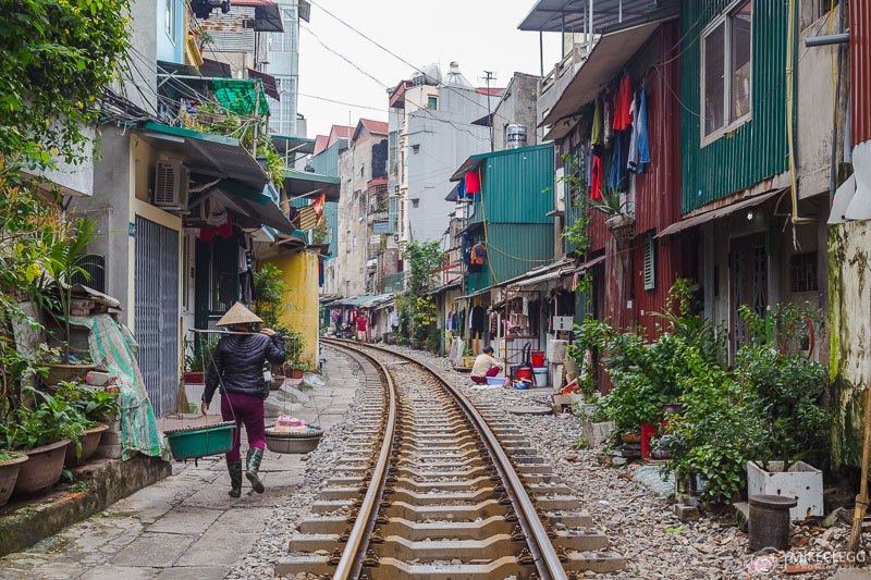 Railway track running through the city in Vietnam