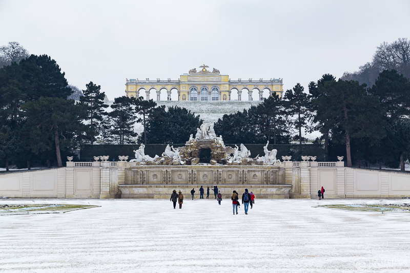 Schönbrunn Park and Gloriette in the winter with snow