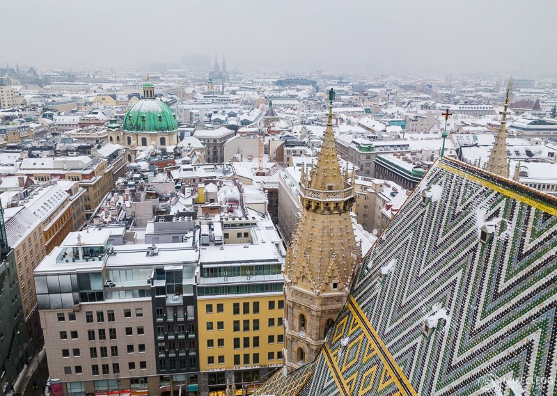 Views from Stephansdom in the winter with snow