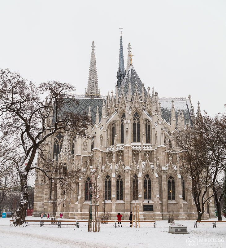 Votive Church in Vienna in the winter with snow