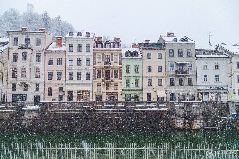 Awesome facades in Ljubljana in the winter