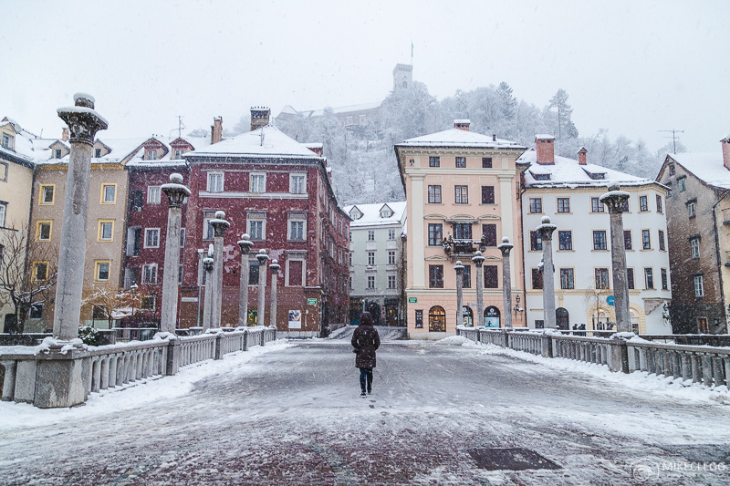 Exploring streets of Ljubljana in snowy winters