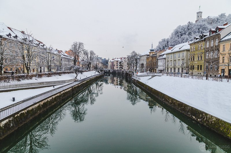 Ljubljanica River in the winter