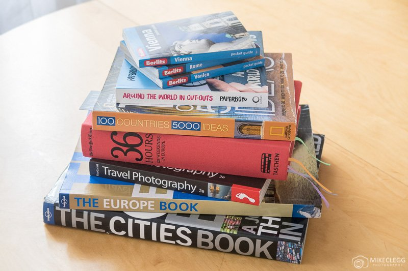 Stack of Travel and photography books