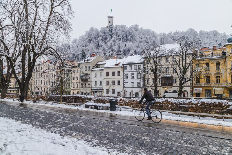 Streets of Ljubljana in the winter
