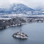 View of Bled Lake from Osojnica in the winter with snow