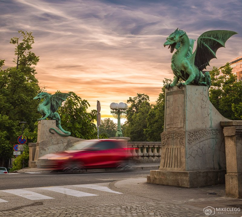 Dragon Bridge, Ljubljana sunrise
