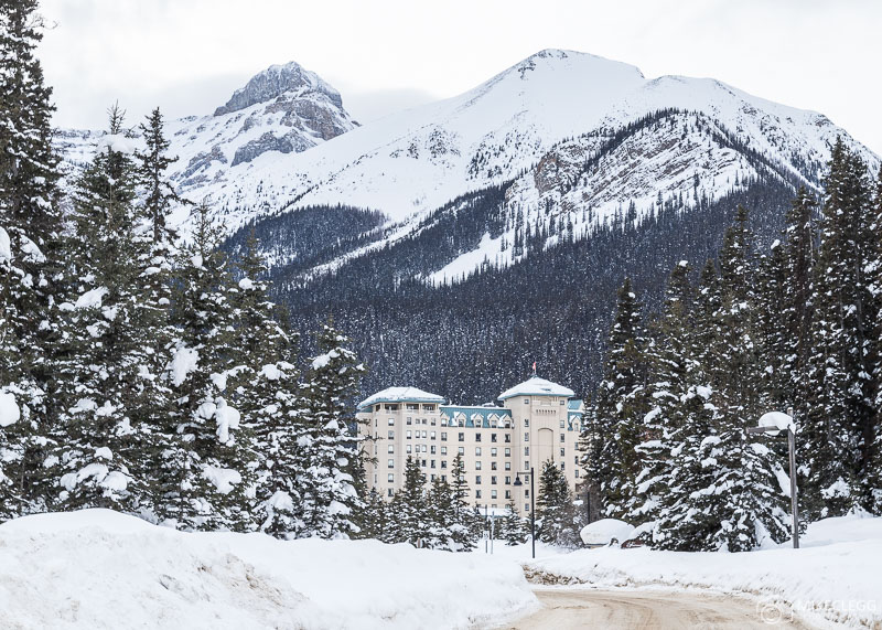 Lake Louise in the winter, snow and the Chateau Fairmont