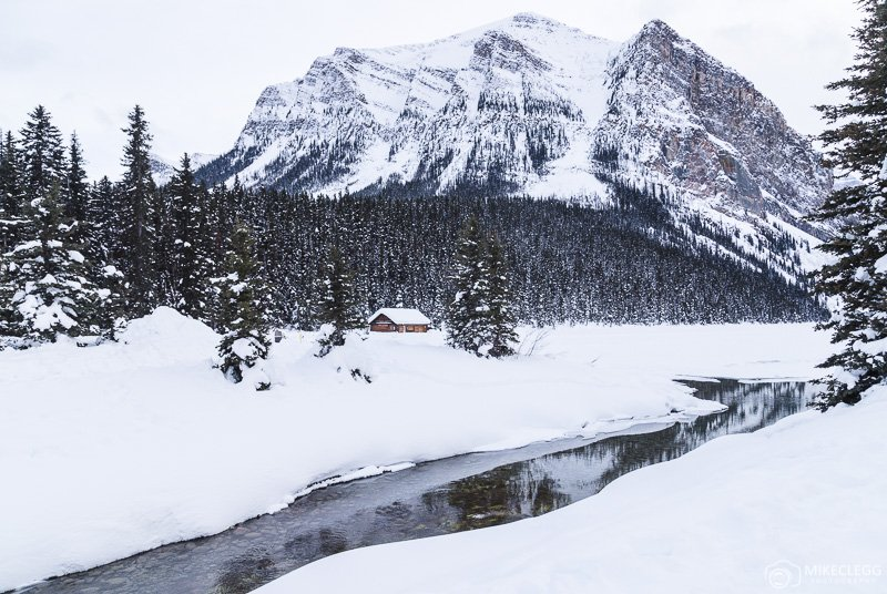Landscape at Lake Louise, Alberta in the winter