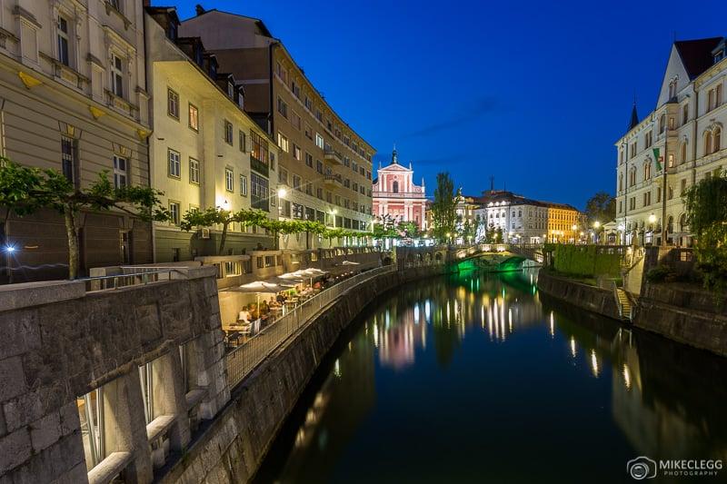 Ljubljana at night from Ribja Brv Footbridge