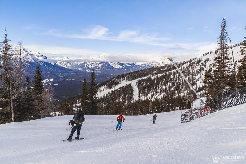 Skiers and snowboarders at Lake Louise Ski Resort